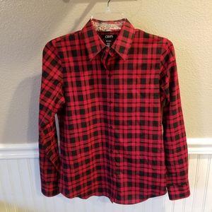Chaps Red Plaid Button Cotton Blouse